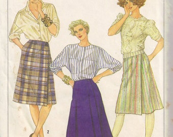 Misses Slimming Front Wrap A Line Skirt Simplicity 6954 Sewing Pattern Plus Size 16 waist 30 inch