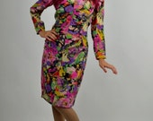 Vintage Ungaro, Silk 1980's Musical Instruments Print, Vintage Designer Dress Size Extra Small