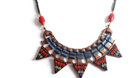 Triangle Bib Necklace, Micro Mosaic,  Tribal Statement Necklace, Red, Blue, Beaded, Seed Beads, Boho, Bohemian