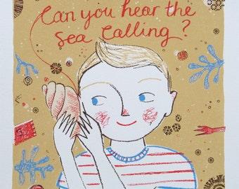 The calling of the sea - original screenprint