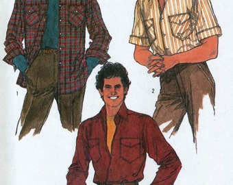 Vintage Simplicity 8541 UNCUT Mens Shirt with Short or Long Sleeves Sewing Pattern Size 42