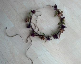 Fairy Hair Wreath Woodland Forest Flower Crown Fall browns, wine, flower crown autumn festival wedding hair accessories Renaissance headband