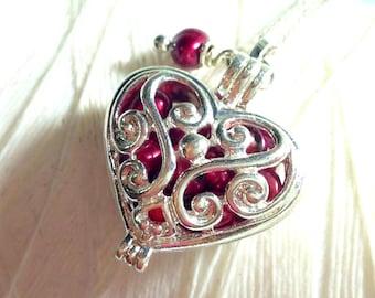 Worry Locket - red pearl heart locket / heart locket / silver locket / pearl necklace / red heart necklace / floating locket / living locket