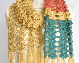 Fish Bone - Four Seaons - Crochet Multicolor Chunky Yarn Long Scarf/Stole