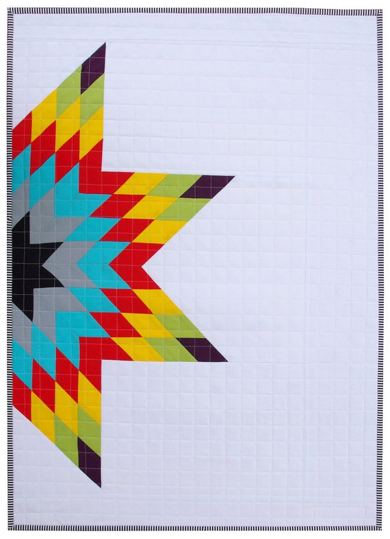 Modern Patchwork Baby Quilt ~ Half Lone Star Quilt
