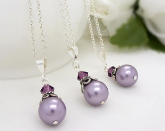 Purple bridesmaid necklace, Bridesmaid jewelry pearl, Purple pearl necklace, Sterling silver lilac lavender purple bridesmaid jewelry set