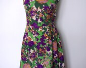 1960s French vintage green and purple floral dress with bow - small medium - S M