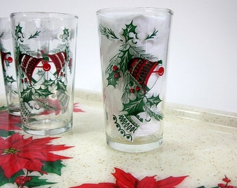 Vintage 1960s Christmas Bells and Holly Holiday Glasses Set of 6 / Retro Kitsch Christmas