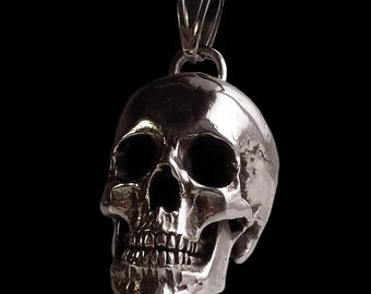 Sterling Silver Huge and Heavy skull Pendant - 98 grams Designed from real human skull