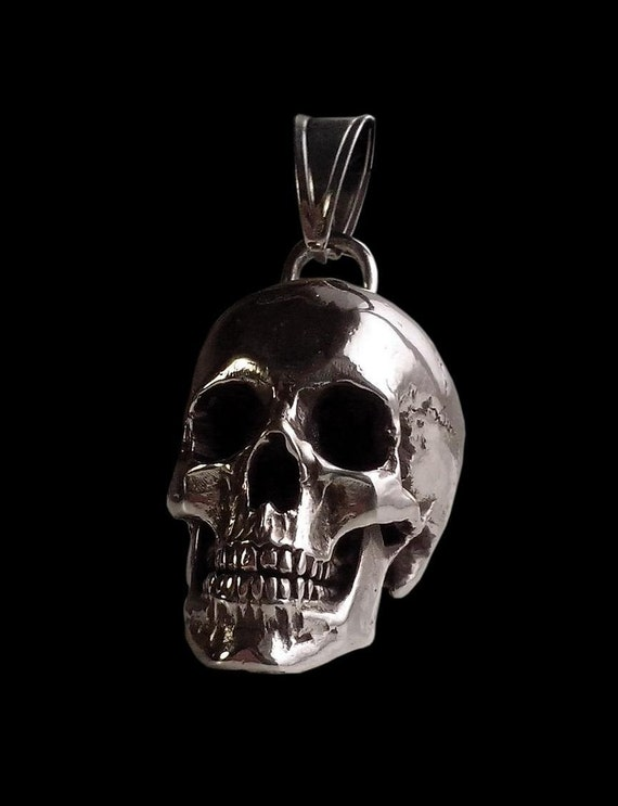 Sterling silver huge and heavy skull pendant 98 grams like this item mozeypictures Image collections