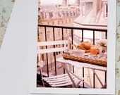 Paris Photo Notecard - Breakfast in Paris, Balcony and Cafe Chair, Stationery, Travel Photo Note Card