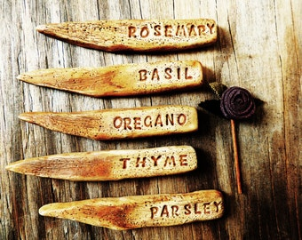 Herb Vegetable Garden Markers Plant Signs Set Veggie Faux Bois Wood Grain Clay Stake Tags Gardening Decor Custom
