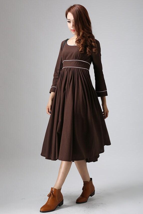long linen dress, maxi dress, brown dress, linen dress, high waisted dress, empire waist dress, linen clothing, Mod clothing, gift ideas 808