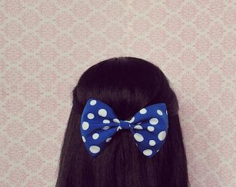 Blue and White Polka Dot Hair Bow - French Barrette, Summer Nautical Hair Bow, Polka Dot Hair Clip, Cute Hair Bow