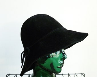 Vintage Black Floppy Hat Mod Wide Brim 70s Boho Bucket Hat Cloche Borsalino