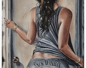 JEREMY WORST Open up jack Daniels Original Artwork on canvas sexy pin up art collection