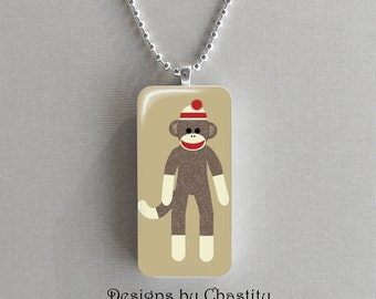 Sock Monkey Domino Necklace