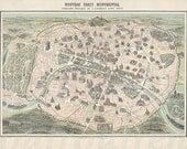 antique victorian map of Paris France digital download