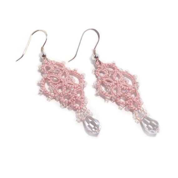 Pink Dangle Earrings , Victorian - Mina