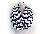 Navy and White Chevron Infinity Scarf, Bold Blue Zig Zag Jersey Knit Loop Scarf