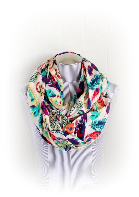 Feather Print Infinity Scarf, Aqua, Purple, Teal, Navy Blue, Lichen Green, Orange fashion accessory