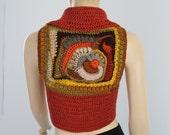 30% OFF only this month Gypsy Boho Hippie  Chic Crochet sweater, Knit Vest ,Freeform Crochet Pixie Jacket Vest Bolero Sweater / Size S-M /