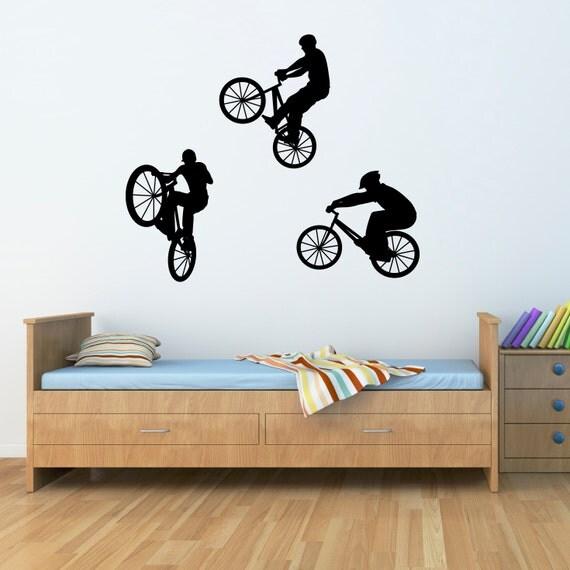 Bike Wall Decal Set of Three BMX Bikers Children Wall