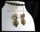 Multi Color Pastel Pearls, Swarovski Crystals, Dangle Earring, Antiqued Brass, 14k Gold Fill, Teardrop, Czech Glass, Cluster, Chain, Jewelry