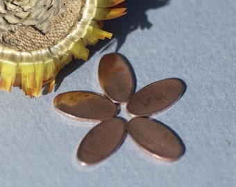 Copper Ovals 14mm x 7mm Blank Cutout for Enameling Stamping Texturing Blanks