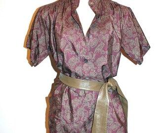 SAINT LAURENT Rive Gauche Vintage Blouse Paisley Boho Tunic - AUTHENTIC -