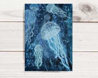 "Print from my Illustration 5""x7"" or 8""x10"" - Deep Sea Jellyfish - Archival Print"