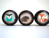 Woodland Collection - Set Of 3 Pill Boxes - Fox, Owl, Hedgehog, Cute, pill box, Kids, Toothfairy boxes, Trinket Boxes, Wood Box, Wooden box