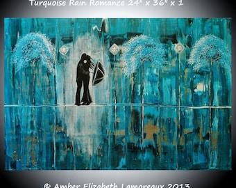 "Made to Order Large 24"" x 36"" Original Painting Turquoise Rain Romance Surreal Landscape Amber Lamoreaux Rainy Street Silhouette Art"