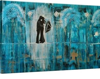 LE Deep Canvas Wrap Giclee Print of Original Painting Turquoise Rain Romance Amber Elizabeth Lamoreaux Impasto Blue Green Rain Couple Love