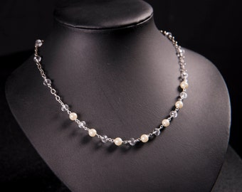 White pearl and crystal necklace