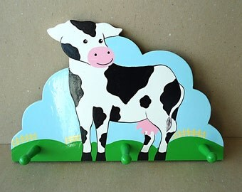 FriENdLy CoW Vtg Wooden Cow Painted Wall Hanger Hooks Happy Kitchen Nursery Décor