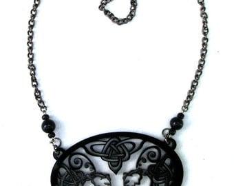Elephant Necklace - Acrobats - Celtic Knot - Statement Necklace - Unique Elephant Pendant Laser Cut from Original Drawing by Laura Cesari