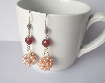Gemstone and Pearl Earrings Muscovite and Pink Pearl