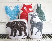 SALE. 25% OFF. Woodland Creatures Collection. You Pick 5 Plush Animal Pillows. Choose Any Colors. Xmas Order deadline DEC 3rd