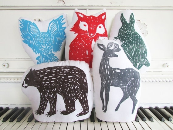 SALE. 25% OFF. Woodland Creatures Collection. You Pick 5 Plush Animal Pillows. Choose Any Colors.