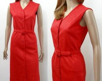 Vintage 1950s  Dress Red Curvy Pencil Dress Jumper / XS