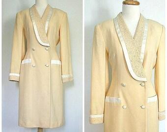 Vintage Tuxedo Dress - 80s dress - suit dress - beaded evening dress - Nolan Miller - short wedding dress - cocktail - wrap dress - S M