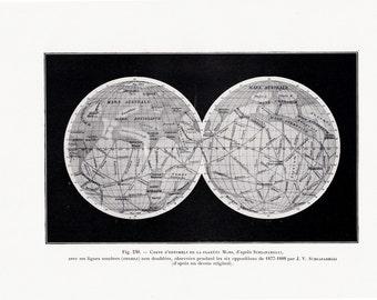1928 Antique ASTRONOMY print, planet Mars chart