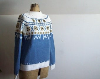 Vintage Nordic sweater JCPenney acrylic Nordic style powder blue NOS never worn