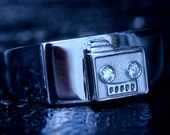 Bad Robot Inspired Wedding Band 14K White Gold Set with two Round Brilliant Diamonds Custom Made to Order