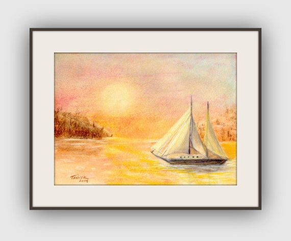 Sailing Boat Sunset Drawing Sail Boat at Sunset Fine Art