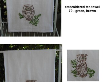 Hand Embroidered Tea Towel Flour Sack Cotton Boy Girl Bears Owls Teapots Vintage Retro Home Decor Kitchen Wedding Gift