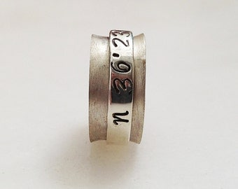 Unisex Personalized Custom Coordinates Ring, Sterling Silver Wide Band Hand Stamped Latitude Longitude, Coordinates Jewelry, Couples Ring