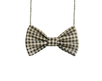 Beige Gingham - Bow Tie Necklace , Cream Brown Bowtie Checkers