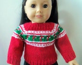 "Handknit Fair Isle Candy Canes Doll Sweater for 18"" Dolls"